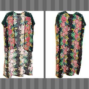 Art Class Floral Crochet Long Vest Pink + Green M